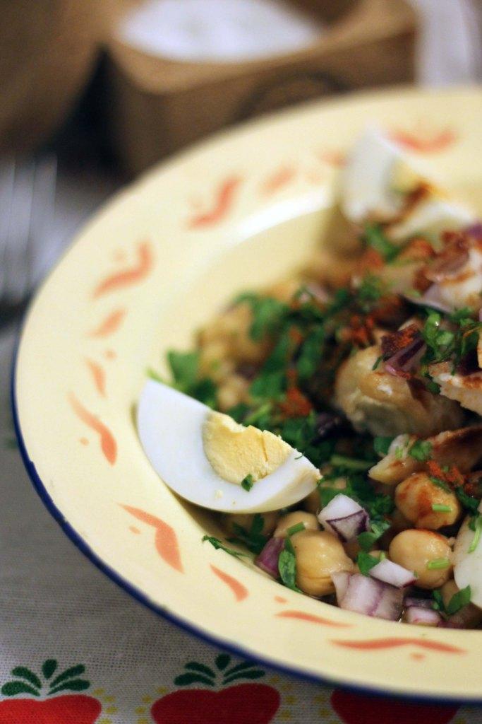 Bacalhau mit Kichererbsen