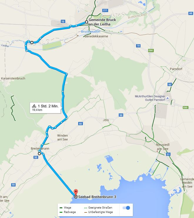 (c) Google von Bruck nach Breitenbrunn